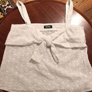 White Eyelet Tank Top with Tie Bow Detail